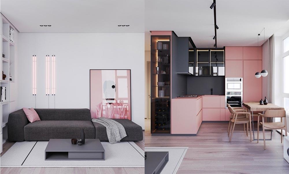 una casa rosa non troppo femminile